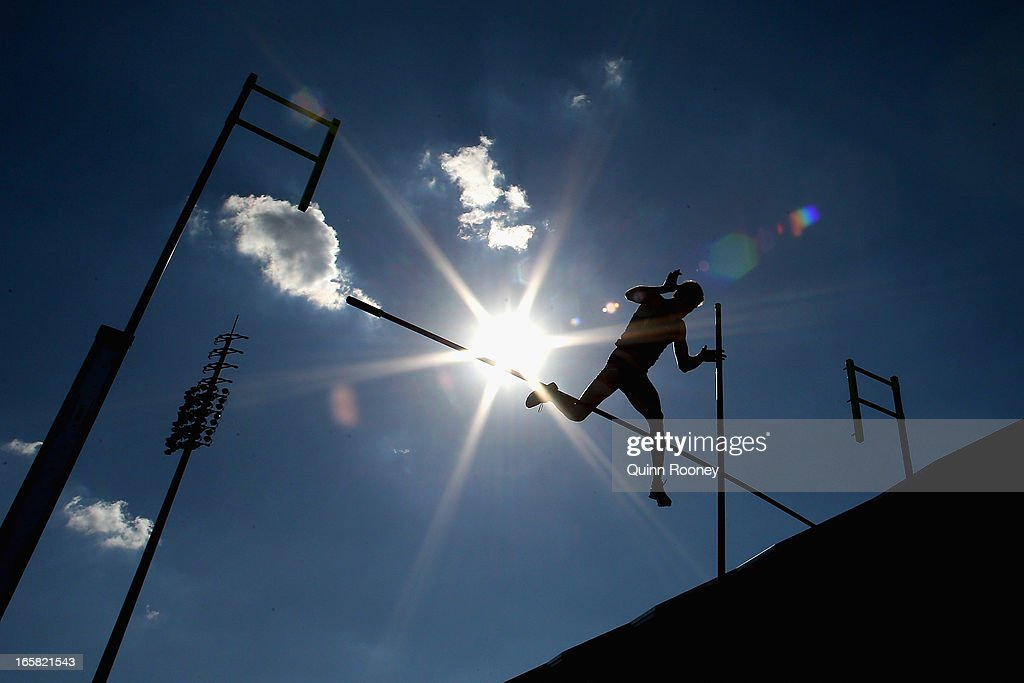 Maxim Mishchenko of Australia jumps in the Men's Pole Vault during the 2013 Melbourne Track Classic at Olympic Park on April 6, 2013 in Melbourne, Australia.