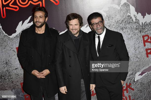 Maxim Nucci Guillaume Canet and Alain Attal attend the 'Rock'N Roll' Premiere at Cinema Pathe Beaugrenelle on February 13 2017 in Paris France
