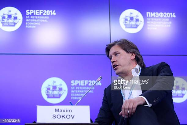Maxim Sokov chief executive officer of EN Group speaks during a session at the St Petersburg International Economic Forum in Saint Petersburg Russia...