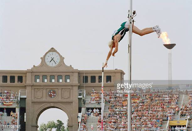Maxim Tarasov of Russia during the Men's Pole Vaultevent at the XXV Summer Olympic Games on 7th August 1992 at the Olympic Stadium Montjuic in...
