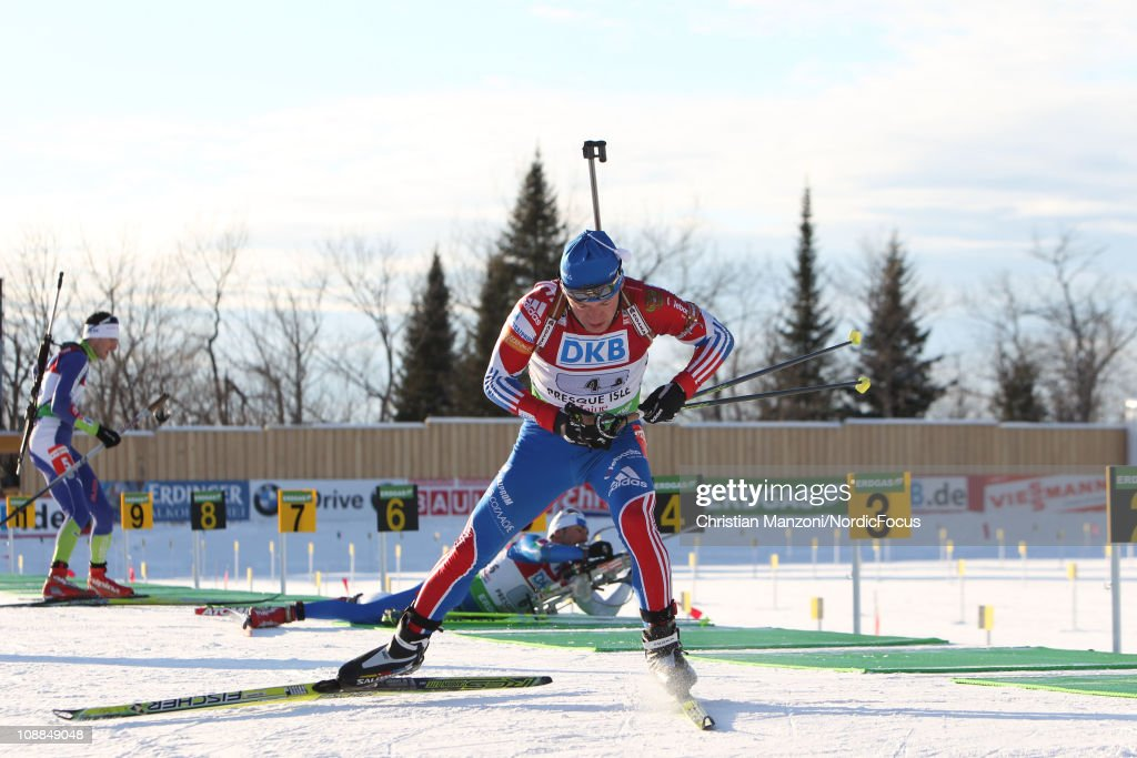 <a gi-track='captionPersonalityLinkClicked' href=/galleries/search?phrase=Maxim+Tchoudov&family=editorial&specificpeople=816914 ng-click='$event.stopPropagation()'>Maxim Tchoudov</a> of Russia competes in the mixed relay during the E.ON IBU Biathlon World Cup on February 5, 2011 in Presque Isle, Maine.