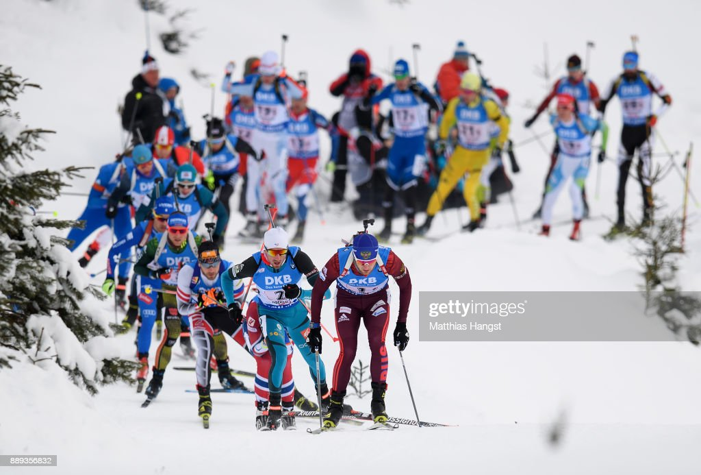Maxim Tsvetkov of Russian Federation leads the field of the Men's 4x7.5km relay competition of the BMW IBU World Cup Biathlon on December 10, 2017 in Hochfilzen, Austria.