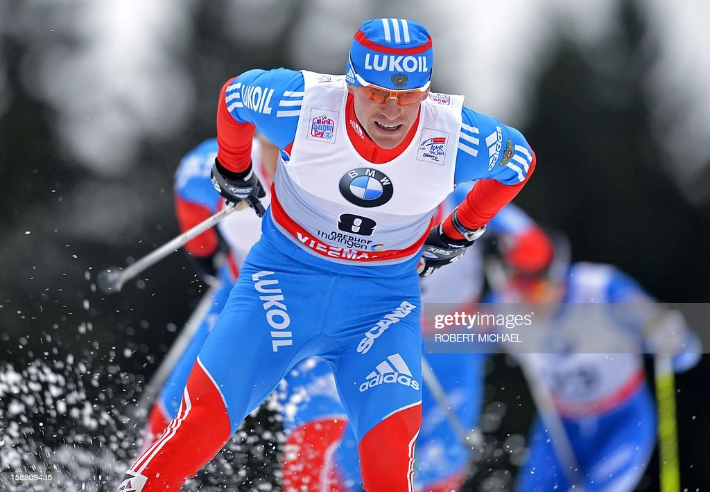 Maxim Vylegzhanin of Russia competes to win the men's cross-country Tour de Ski 15-kilometer pursuit competition on December 30, 2012 in Oberhof, eastern Germany.