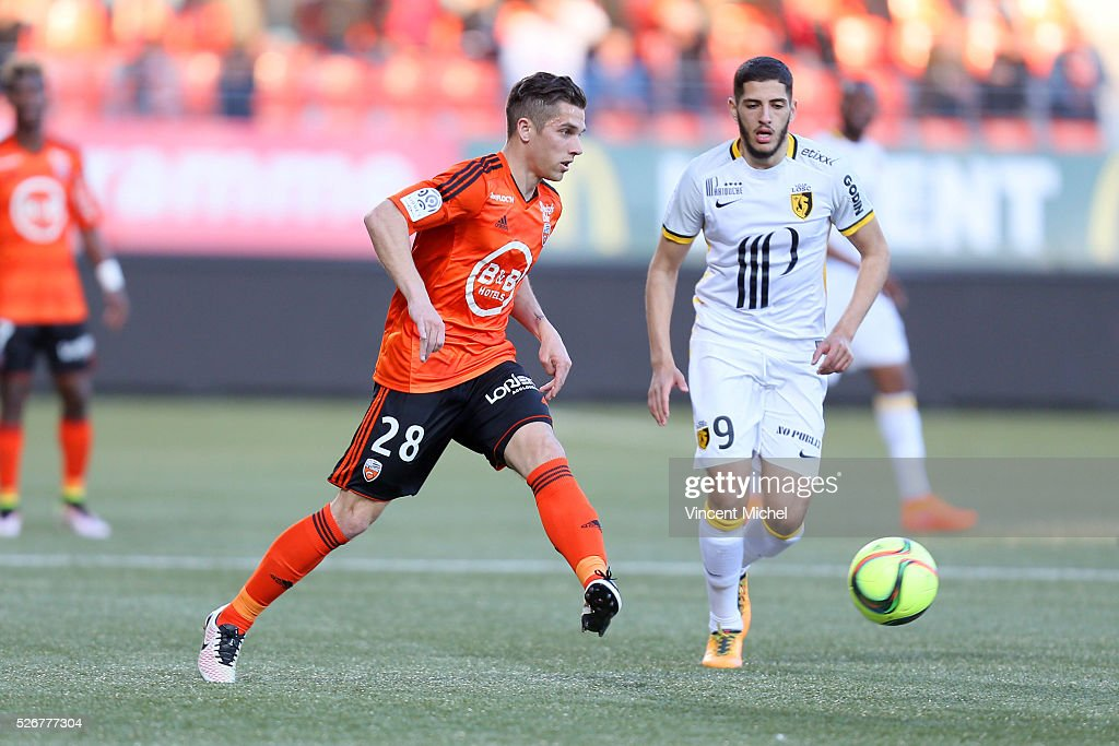 Maxime Barthelme of Lorient during the French Ligue 1 match between Fc Lorient and Lille OSC at Stade du Moustoir on April 30 2016 in Lorient France
