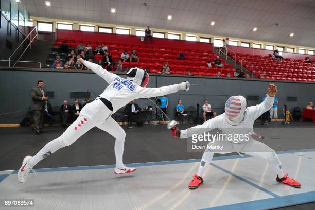 Maxime BrinckCroteau of Canada fences Jason Pryor of the USA during the bronze medal match of the Team Men's Epee event on June 17 2017 at the...