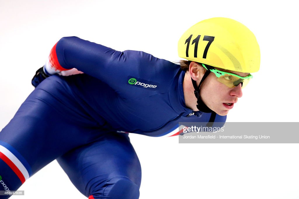 <a gi-track='captionPersonalityLinkClicked' href=/galleries/search?phrase=Maxime+Chataignier&family=editorial&specificpeople=504686 ng-click='$event.stopPropagation()'>Maxime Chataignier</a> of France competes in the Men's 5000m Relay B final on day two of the ISU World Cup Short Track Speed Skating on February 15, 2015 in Erzurum, Turkey.