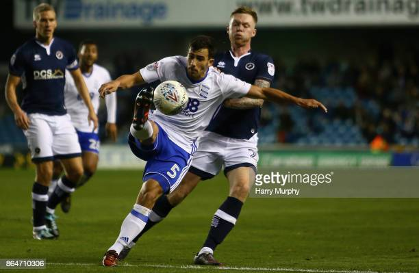 Maxime Colin of Birmingham City and Conor McLaughlin of Millwall battle for possession during the Sky Bet Championship match between Millwall and...