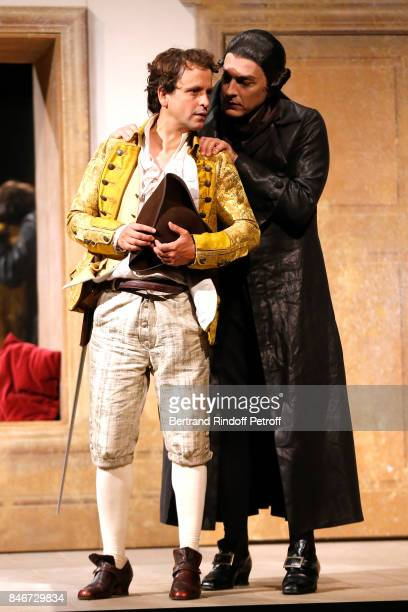 Maxime d'Aboville and Olivier Sitruk perform in 'Les Jumeaux Venitiens' Press Theater Play at Theatre Hebertot on September 6 2017 in Paris France
