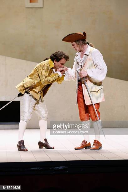 Maxime d'Aboville and Thibault Lacroix perform in 'Les Jumeaux Venitiens' Press Theater Play at Theatre Hebertot on September 6 2017 in Paris France