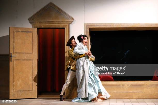 Maxime d'Aboville and Victoire Belezy perform in 'Les Jumeaux Venitiens' Press Theater Play at Theatre Hebertot on September 6 2017 in Paris France
