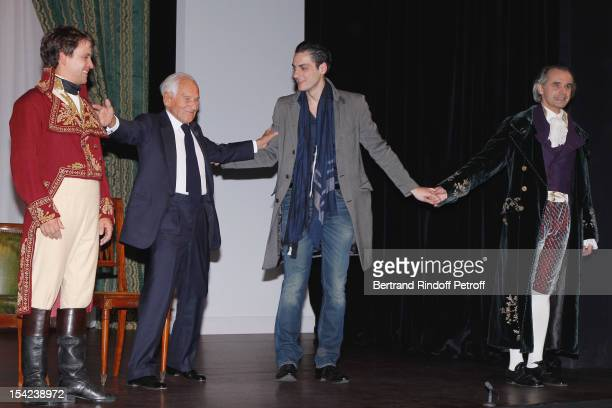 Maxime d'Aboville Jean D'Ormesson stage director JeanLaurent Silvie and Alain Pochet attend 'La Conversation' by Jean D'Ormesson at Theatre Hebertot...