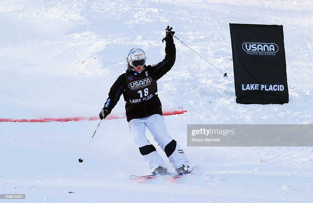 Maxime Dufour-Lapointe #18 of Canada crosses the finish line in the USANA Freestyle Ladies' World Cup Moguls competition at Whiteface Mountain on January 17, 2013 in Lake Placid, New York.