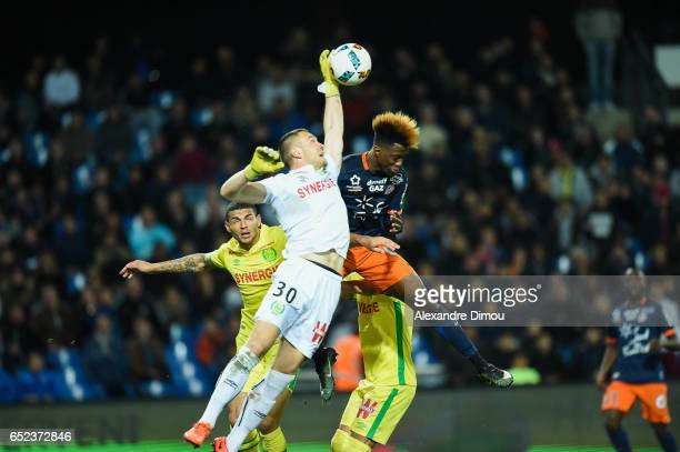Maxime Dupe of Nantes and Isaac Mbenza of Montpellier during the Ligue 1 match between Montpellier Herault and Fc Nantes at Stade de la Mosson on...