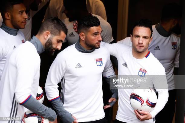 Maxime Gonalons Jordan Ferri and Mathieu Valbuena of Lyon before the Uefa Europa League semi final first leg match between Ajax Amsterdam and...