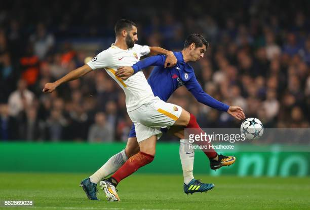 Maxime Gonalons of AS Roma and Alvaro Morata of Chelsea battle for possession during the UEFA Champions League group C match between Chelsea FC and...