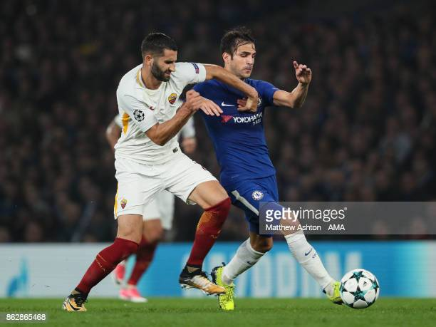 Maxime Gonalons of AS Roma and Cesc Fabregas of Chelsea during the UEFA Champions League group C match between Chelsea FC and AS Roma at Stamford...