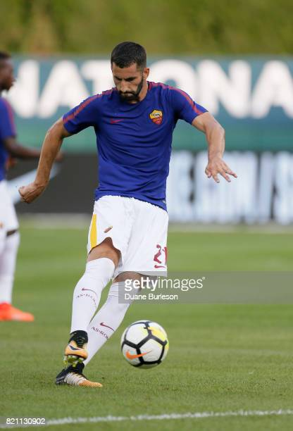 Maxime Gonalons of AS Roma warms up for a match against the Paris SaintGermain at Comerica Park on July 19 2017 in Detroit Michigan