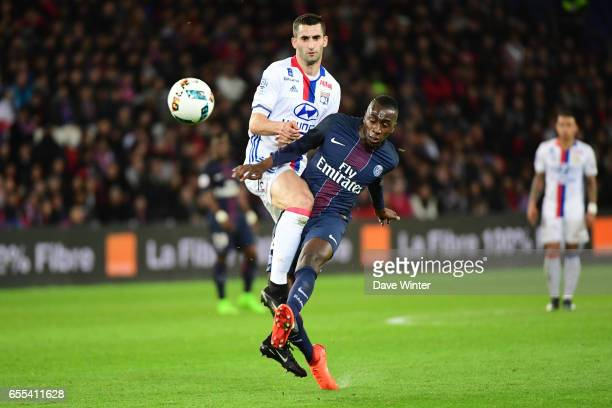Maxime Gonalons of Lyon and Blaise Matuidi of PSG during the French Ligue 1 match between Paris Saint Germain and Lyon at Parc des Princes on March...