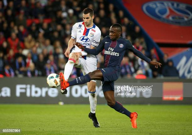 Maxime Gonalons of Lyon and Blaise Matuidi of PSG in action during the French Ligue 1 match between Paris SaintGermain and Olympique Lyonnais at Parc...