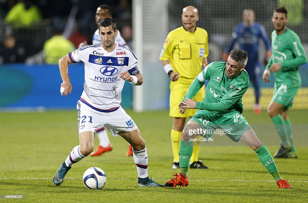 <a gi-track='captionPersonalityLinkClicked' href=/galleries/search?phrase=Maxime+Gonalons&family=editorial&specificpeople=6256905 ng-click='$event.stopPropagation()'>Maxime Gonalons</a> of Lyon and <a gi-track='captionPersonalityLinkClicked' href=/galleries/search?phrase=Fabien+Lemoine&family=editorial&specificpeople=4784581 ng-click='$event.stopPropagation()'>Fabien Lemoine</a> of Saint-Etienne in action during the French Ligue 1 match between Olympique Lyonnais (OL) and AS Saint-Etienne (ASSE) at Stade de Gerland on November 8, 2015 in Lyon, France.