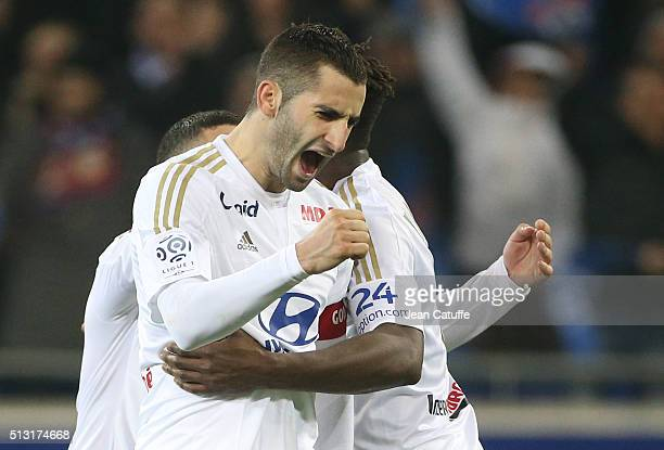 Maxime Gonalons of Lyon celebrates the victory following the French Ligue 1 match between Olympique Lyonnais and Paris SaintGermain at Parc Olympique...