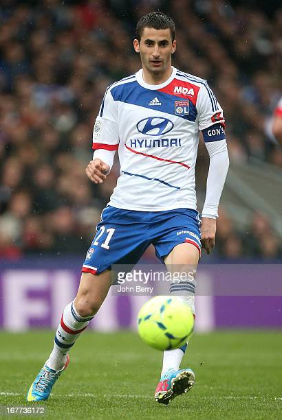 Maxime Gonalons of Lyon in action during the Ligue 1 match between Olympique Lyonnais OL and AS SaintEtienne ASSE at the Stade Gerland on April 28...