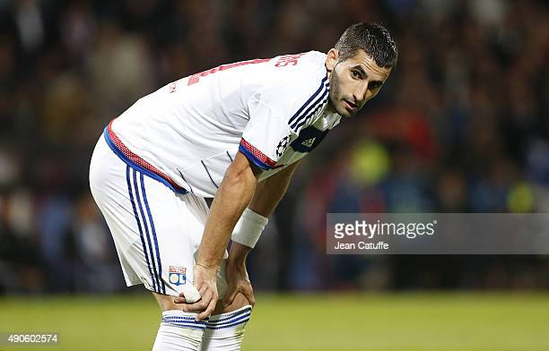 Maxime Gonalons of Lyon looks on during the UEFA Champions league match between Olympic Lyonnais and Valencia CF at Stade de Gerland on September 29...