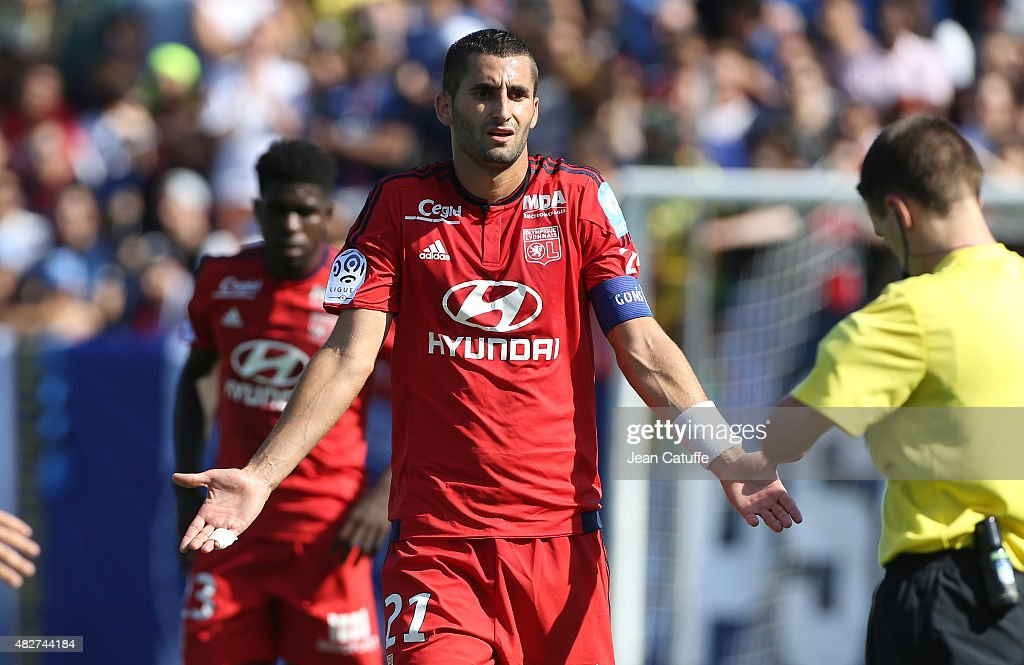 <a gi-track='captionPersonalityLinkClicked' href=/galleries/search?phrase=Maxime+Gonalons&family=editorial&specificpeople=6256905 ng-click='$event.stopPropagation()'>Maxime Gonalons</a> of Lyon reacts during the 2015 Trophee des Champions between Paris Saint-Germain (PSG) and Olympique Lyonnais (OL) at Stade Saputo on August 1, 2015 in Montreal, Quebec, Canada.
