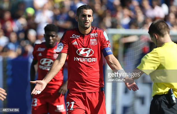 Maxime Gonalons of Lyon reacts during the 2015 Trophee des Champions between Paris SaintGermain and Olympique Lyonnais at Stade Saputo on August 1...