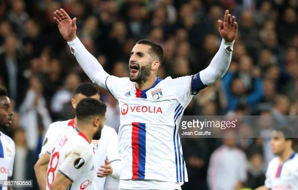 Maxime Gonalons of Lyon reacts during the UEFA Europa League semi final second leg match between Olympique Lyonnais and Ajax Amsterdam at Parc OL on...