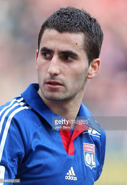 Maxime Gonalons of Lyon salutes the supporters of his team at the end of the french Ligue 1 match between Stade de Reims and Olympique Lyonnais OL at...