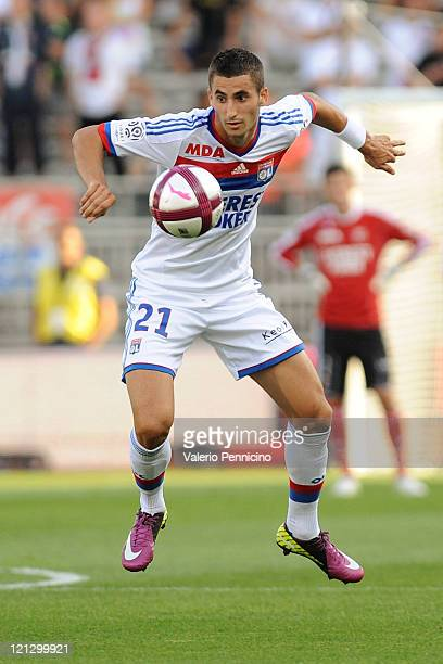 Maxime Gonalons of Olympique Lyonnais in action during the Ligue 1 match between Olympique Lyonnais and AC Ajaccio at Gerland Stadium on August 13...