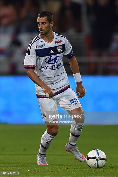 Maxime Gonalons of Olympique Lyonnais in action during the preseason friendly match between Olympique Lyonnais and AC MIlan at Gerland Stadium on...