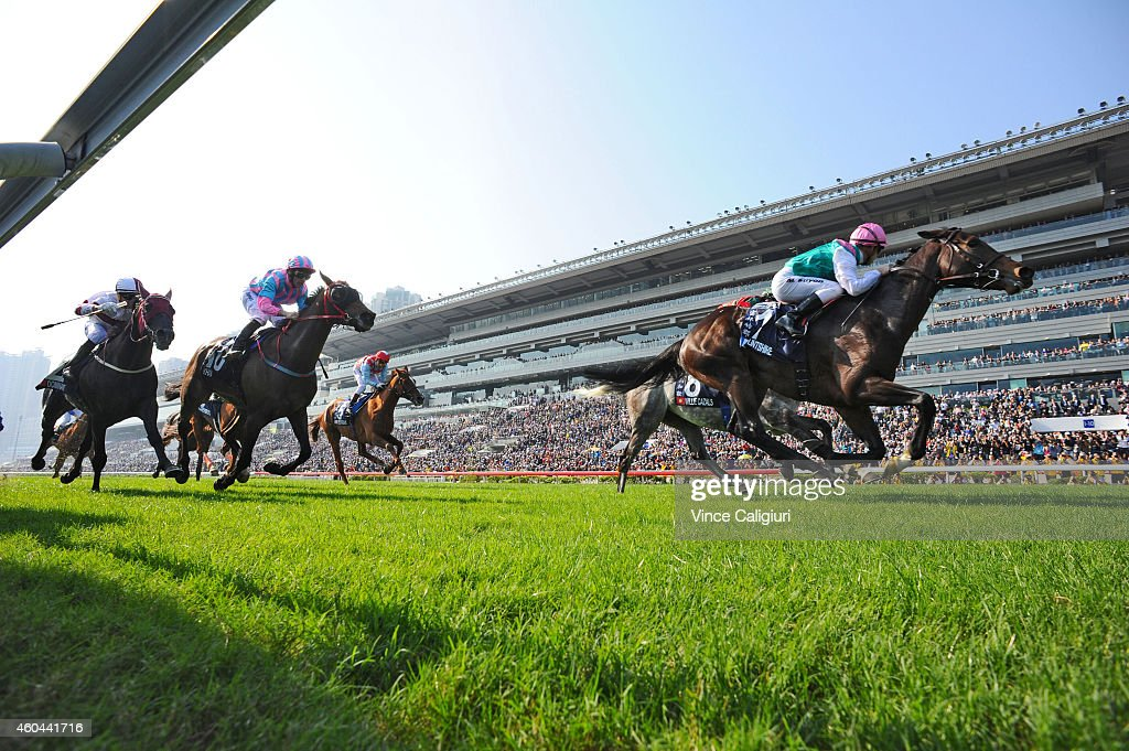Maxime Guyon riding Flintshire of France wins Race 4 The LONGINES Hong Kong Vase during International Race day at Sha Tin racecourse on December 14...
