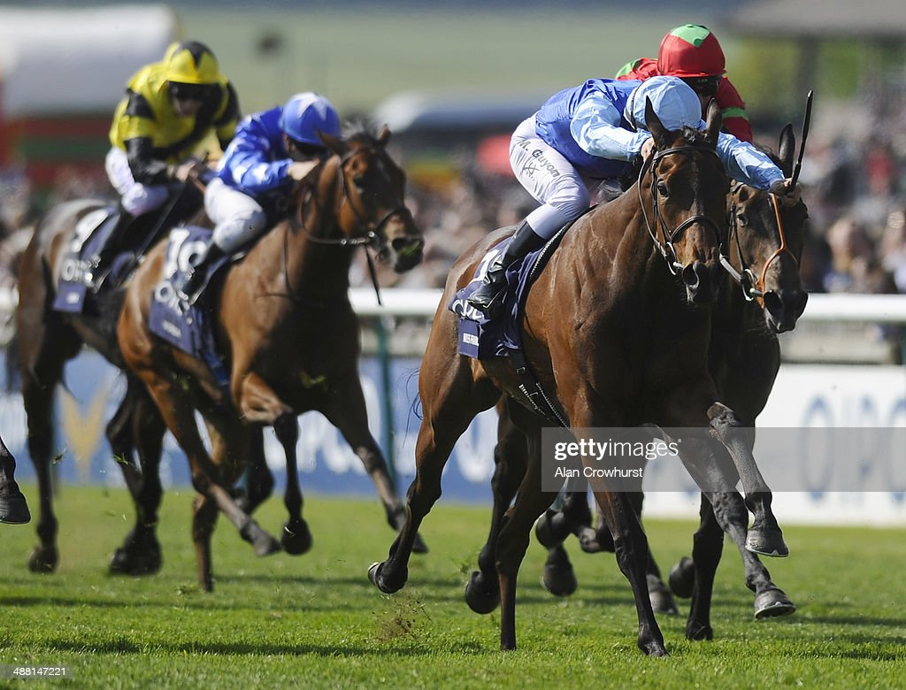 Maxime Guyon riding Miss France win The Qipco 1000 Guineas Stakes at Newmarket racecourse on May 04 2014 in Newmarket England