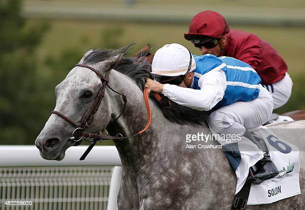 Maxime Guyon riding Solow win The Qatar Sussex Stakes from Arod at Goodwood racecourse on July 29 2015 in Chichester England