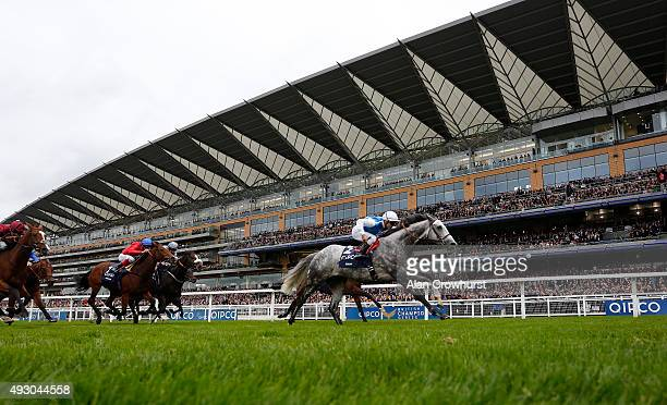 Maxime Guyon riding Solow win The Queen Elizabeth II Stakes at Ascot racecourse on October 17 2015 in Ascot England