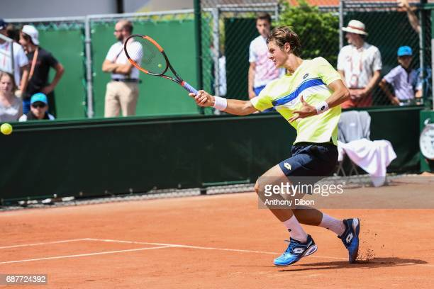 Maxime Janvier during qualifying match of the 2017 French Open at Roland Garros on May 24 2017 in Paris France