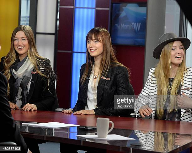 Maxime Justin and Chloe DufourLapointe talk about their experience at the 2014 Sochi Olympics at The Morning Show Studios on March 27 2014 in Toronto...
