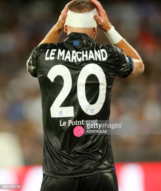 Maxime Le Marchand defender of Nice during the match between SSC Napoli and OGC Nice to qualify for the UEFA Champions League playoff Napoli wins 2...