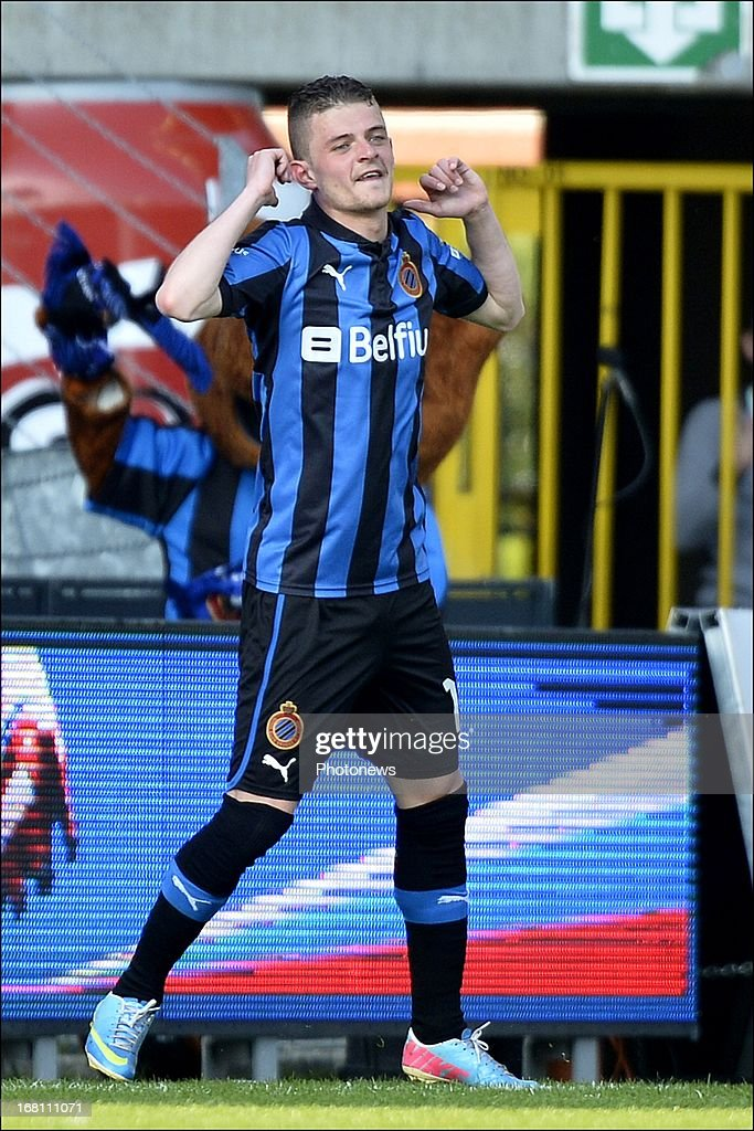 Maxime Lestienne of Club Brugge KV celebrates after scoring a goal during the Jupiler Pro League play-off 1 match between Club Brugge and Sporting Lokeren on May 5, 2013 in Brugge, Belgium.
