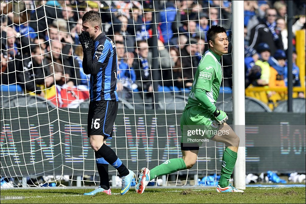 Maxime Lestienne of Club Brugge KV looks dejected after missing an opportunity during the Jupiler League match between Club Brugge and Standard de Liege on April 01, 2013 in the Jan Breydel Stadium in Brugge, Belgium.