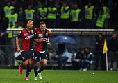 Maxime Lestienne of Genoa CFC celebrates his goal with his teammate Sebastian De Maio during the Serie A match between Genoa CFC and FC...