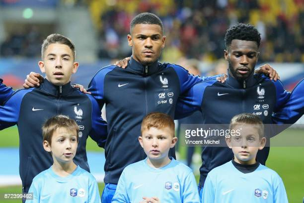 Maxime Lopez Kelvin Amian Adou and Jonathan Bamba of France during the Under 21s Euro 2019 qualifying match between France U21 and Bulgaria U21 on...