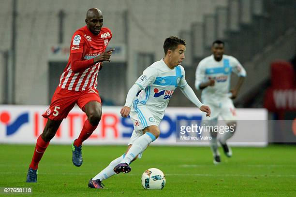 Maxime LOPEZ of Marseille and Alou DIARRA of Nancy during the Ligue 1 match between Olympique de Marseille and AS NancyLorraine at Stade Velodrome on...