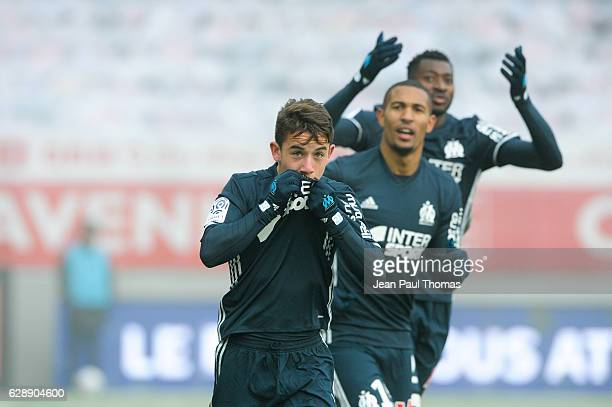 Maxime LOPEZ of Marseille celebrate his goal during the French Ligue 1 between Dijon and Marseille at Stade Gaston Gerard on December 10 2016 in...