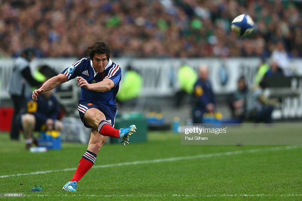 Maxime Machenaud of France kicks a conversion during the RBS Six Nations match between France and Ireland at Stade de France on March 15, 2014 in Paris, France.