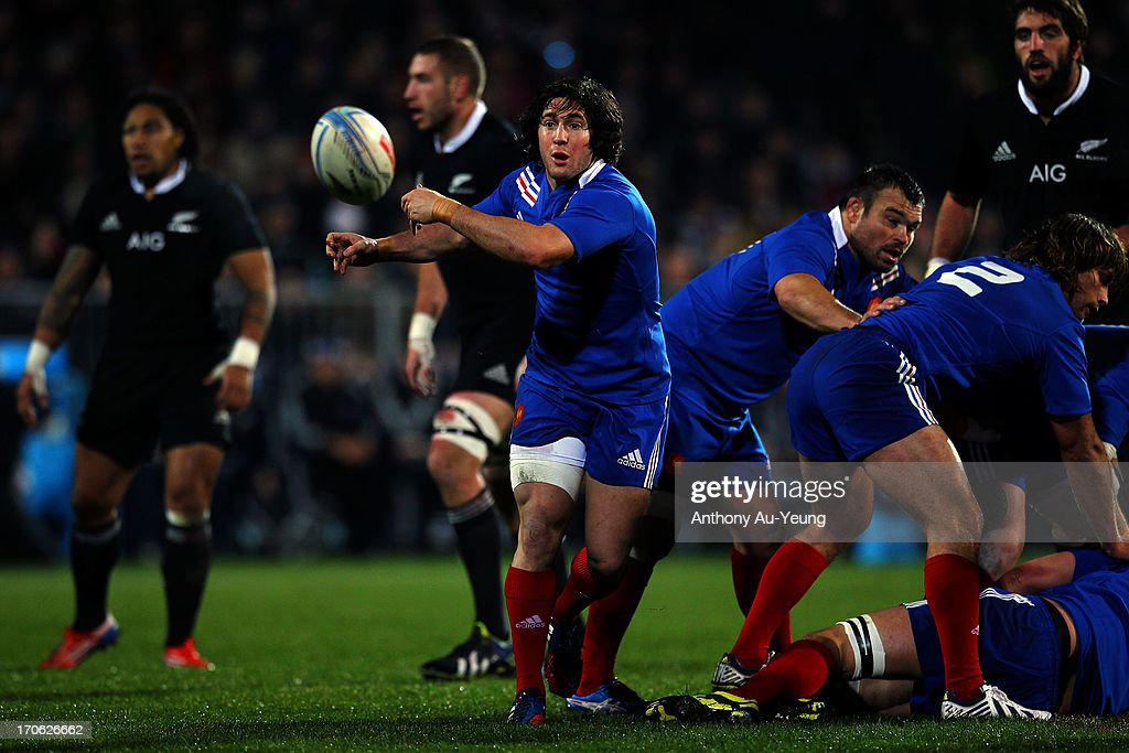Maxime Machenaud of France makes a pass during the International Test match between the New Zealand All Blacks and France at AMI Stadium on June 15, 2013 in Christchurch, New Zealand.