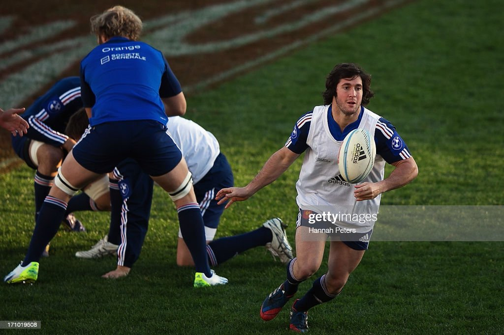 <a gi-track='captionPersonalityLinkClicked' href=/galleries/search?phrase=Maxime+Machenaud&family=editorial&specificpeople=7149115 ng-click='$event.stopPropagation()'>Maxime Machenaud</a> of France passes the ball out during a France captain's run at Yarrow Stadium on June 21, 2013 in New Plymouth, New Zealand.