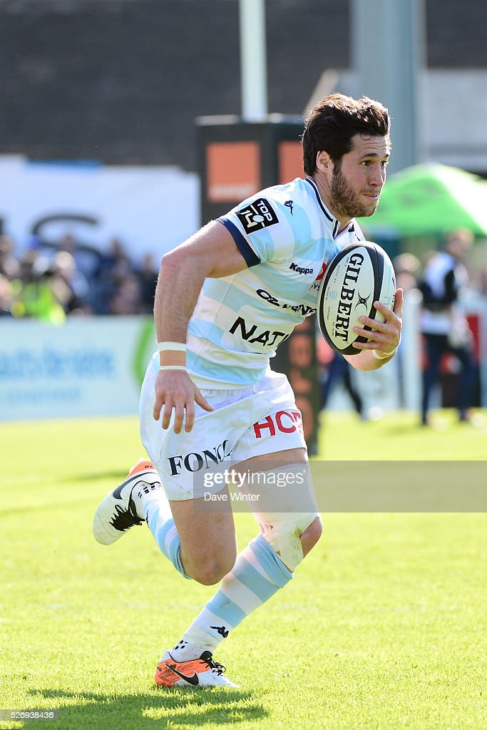 Maxime Machenaud of Racing 92 during the French Top 14 rugby union match between Racing 92 v Clermont at Stade Yves Du Manoir on May 1, 2016 in Colombes, France.